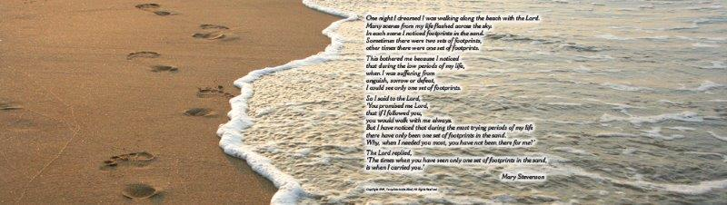 Legacy Image Footprints in the Sand with Poem